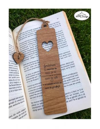 Semn de carte din lemn Love