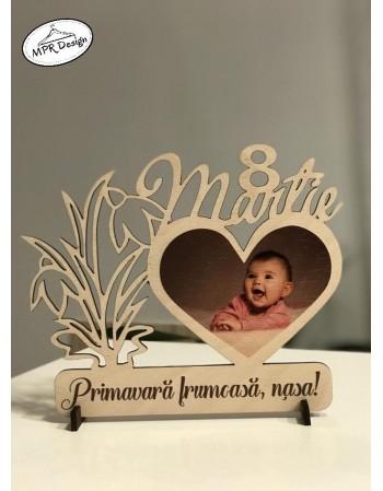 Decoratiune 8 martie cu fotografie pe lemn