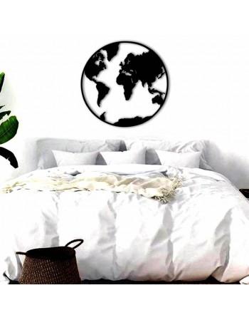 Decoratiune lemn harta lumii cerc