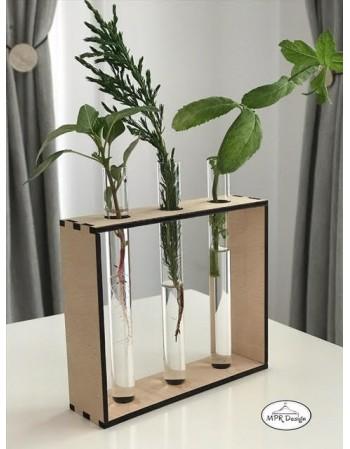 Vaza cu 3 eprubete si cadru din lemn