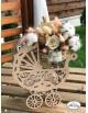 Cos pentru flori din lemn - carucior bebe