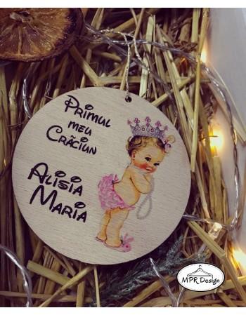Glob din lemn color Baby girl