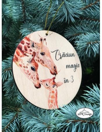 Glob din lemn color Girafe