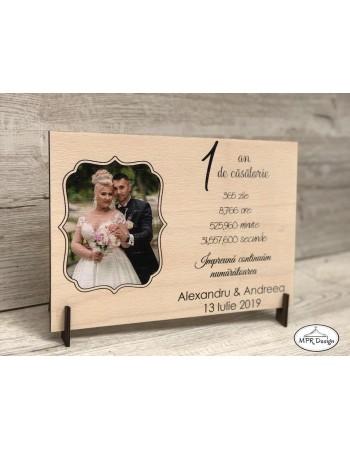 Placuta aniversare casatorie cu fotografie pe lemn