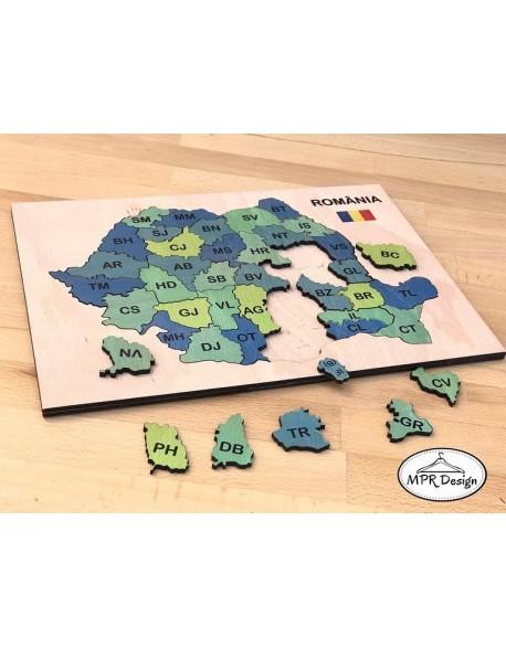 Puzzle din lemn harta Romaniei color