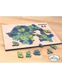 Puzzle color din lemn harta Romaniei