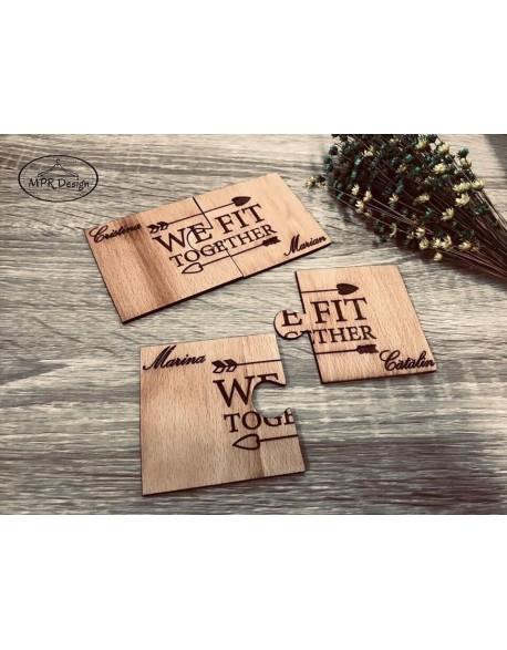 Suport pahare puzzle personalizat din lemn