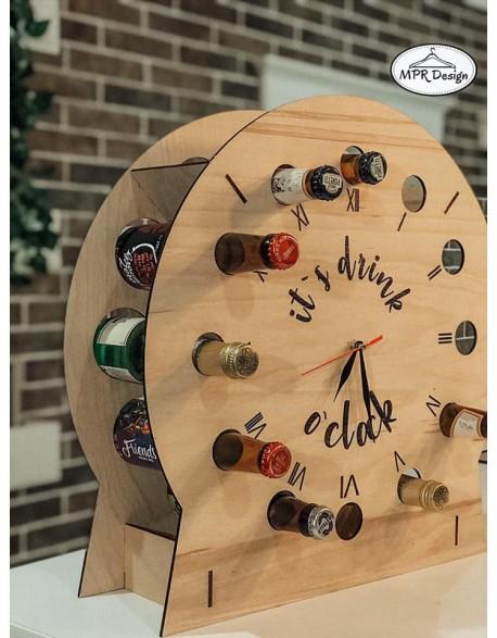 Suport pentru sticle din lemn cu ceas