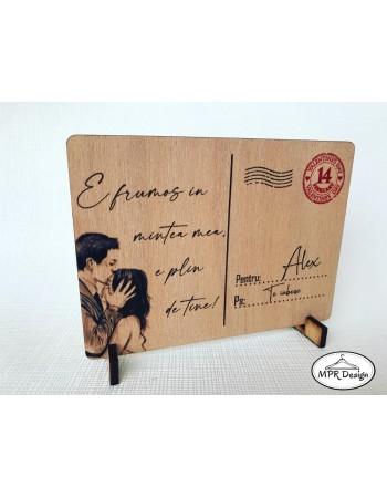 Felicitare din lemn Valentine`s Day