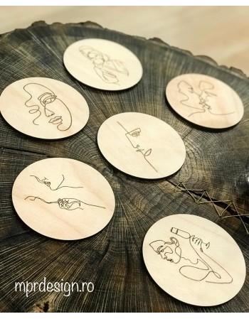 Wood coasters Love yourself / Set suport pentru pahare din lemn