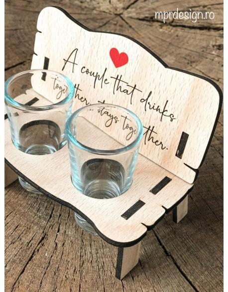 Suport shot-uri din lemn - Drink together
