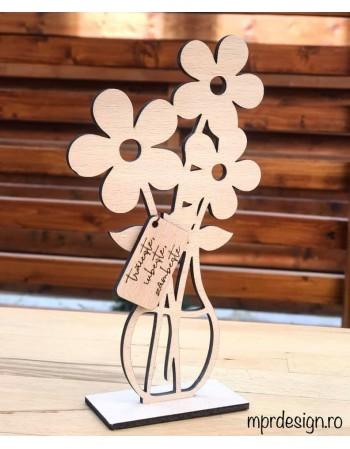 Floare lemn cu mesaj