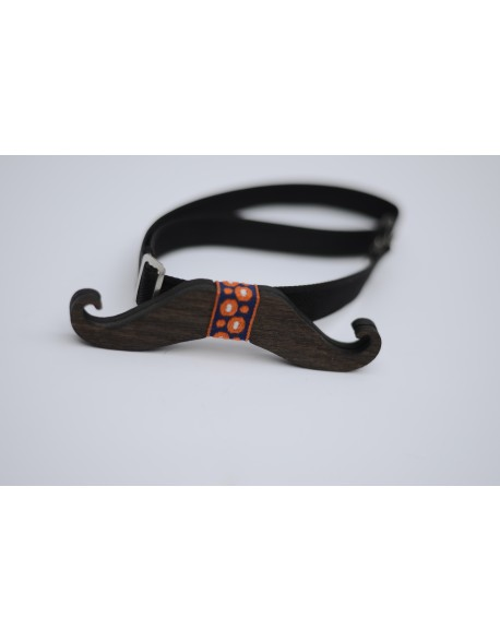 Papion din lemn moustache